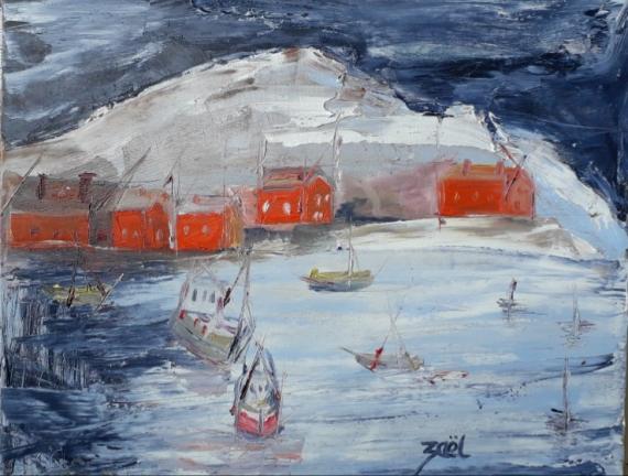 TABLEAU PEINTURE Marine Peinture a l'huile  - NORVEGIAN FJIORD