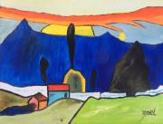 tableau paysages : LA MAISON BLEU ADOSSEE A LA COLLINE