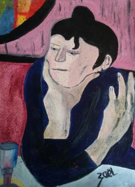 TABLEAU PEINTURE Personnages Peinture a l'huile  - LA BUVEUSE