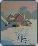 tableau paysages paysage neige campagne village : Village sous la neige