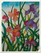 tableau fleurs iris peinture acrylique fleurs : Les iris