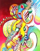 """tableau abstrait chromatisme musique abstraction : """"Fluidité triste des guitares"""" - Hommage à Georg Trakl"""