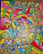 "tableau abstrait : Fantaisie chromatique n°5 ""Le coeur"""