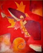 tableau abstrait : Le combat avec l'ange