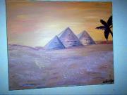 tableau paysages pyramides egypte toile orange : les pyramides d egypte