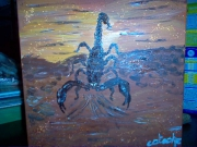 tableau animaux scorpion toile marron orange : scorpion