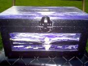 bois marqueterie paysages boite en bois paysage noir et violet coucher de soleil : la mer