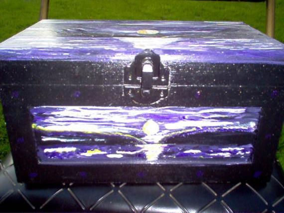 BOIS, MARQUETERIE boite en bois paysage noir et violet coucher de soleil Paysages  - la mer