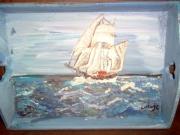 bois marqueterie marine mer bois bateau bleu : bateau