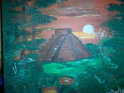 tableau paysages pyramide inca toile orange : au pays des incas