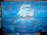 tableau marine toile bateau mer bleu : navigation