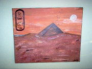 tableau paysages pyramide egypte toile orange : pyramide
