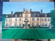 tableau architecture chateau toile peinture acrylique vert : chateau