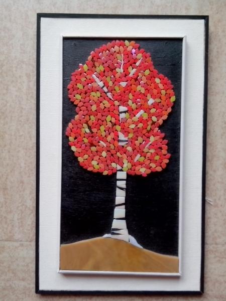TABLEAU PEINTURE Essonne Vert le Petit arbre pate de verre Paysages Collage  - arbre en automne