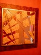 tableau abstrait essonne vert le petit miroir miroir et marbre : miroir et marbre