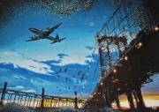 tableau scene de genre aviation manhattan bridge coucher de soleil : Blues trottoir