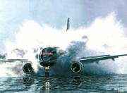 tableau scene de genre avion piste eau splash : Splash