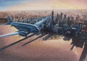 tableau villes avion manhattan aube : Aube d'or
