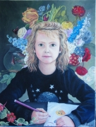 tableau personnages enfant fleur portrait : ma fille