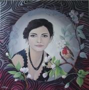 tableau personnages femme fleur oiseau : Lisa