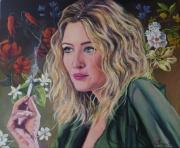 tableau personnages femme fleur fumee : femme à la cigarette
