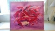tableau abstrait : rose mauve