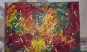 tableau abstrait : champs de tulipes