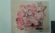 tableau abstrait : disques roses