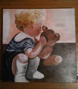 tableau personnages enfant ours marron : Mon doudou