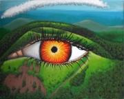 tableau paysages surrealisme psychedelisme volcans : Regard des profondeurs
