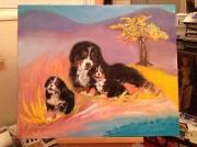tableau animaux bouvier bernois jaune arbre : Bouvier Bernois