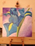 tableau fleurs iris bleu violet : IRIS