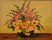 tableau nature morte fleurs sauvages petales tiges : Composition florale
