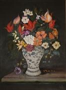 tableau nature morte vase perse poterie argile : fleurs persanes 2013