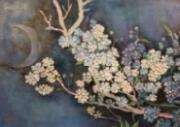 tableau nature morte printemps lune reve branche : clair de lune printanier