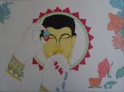tableau personnages bouddha colore florale feminite : l éveil