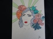 tableau personnages visage feminite florale colore : féminité pop art