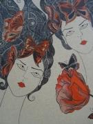 tableau personnages nature visage feminin fleure : l 'éveil vers la conscience