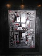 tableau abstrait noir alu metal : noir et alu