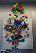 tableau personnages cirque : clown jongleur