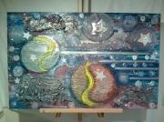 tableau abstrait etoile terre : mille étoile