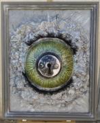 tableau abstrait oeil : regard dans la serrure