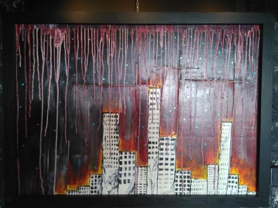 TABLEAU PEINTURE Immeuble Villes  - New-York