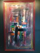 tableau abstrait : Bord rouge