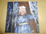 tableau personnages fillette nomade neige : petite fille