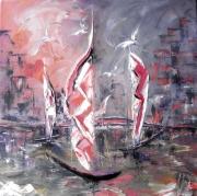 tableau marine impressionnisme abstrait peintre canadien huile : La ville épie les voiles