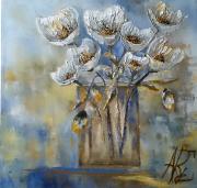 "tableau fleurs fleurs bleu huile spatule : With all my love ""2020"""