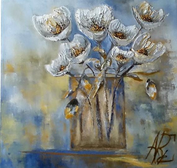 """TABLEAU PEINTURE Fleurs bleu. huile spatule Fleurs Peinture a l'huile  - With all my love """"2020"""""""