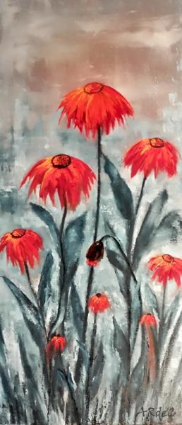 """TABLEAU PEINTURE huile spatule Fleurs peintre québecquoise Fleurs Peinture a l'huile  - Passiflora """"2020"""""""
