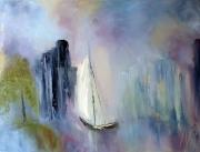 tableau marine huile spatule peintre canadien voiliers : Voile de brume